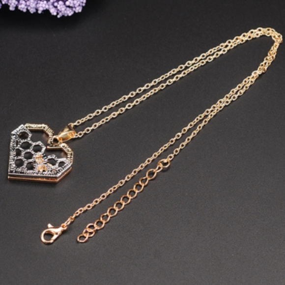 Jewelry - Gold Plated Heart/Bee & Silver Plated Honey Comb
